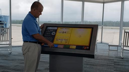 digital kiosk in CAE airport