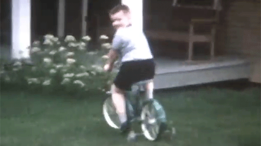 media conversion film, kid riding bike